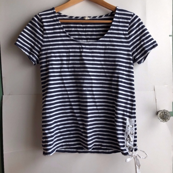 J. Crew Tops - J. CREW Navy Blue White Striped Lace Up Tee Top XS